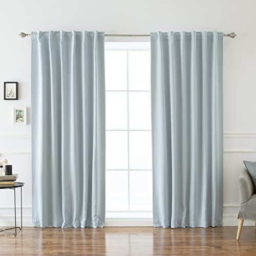 Best Home Fashion Premium Thermal Insulated Blackout Curtains – Back Tab Rod Pocket – Sky Blue – 52 W x 120 L -Tie Backs Included Set of 2 Panels