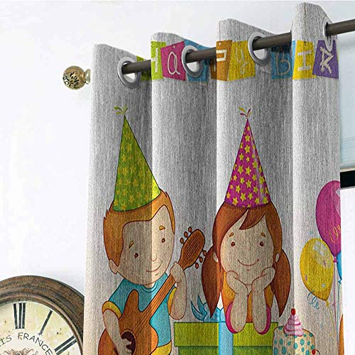 Kids Birthday Room Darkening Gromets Curtain Drapes for Girls Room, Colorful Kindergarten Party Cone Hats Cake Boxes Music Celebration Print Home Darkening Curtains, Multicolor, W84 x L84 Inches