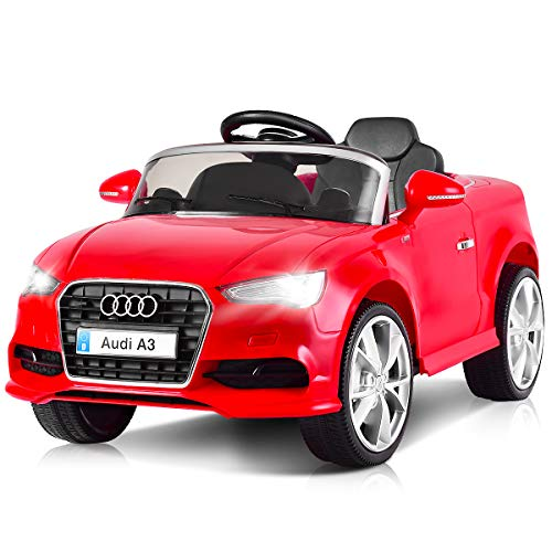 Costzon Ride On Car, Licensed Audi A3 12V Battery Powered Ride-On Vehicle, Manual/Parental Remote Control Modes with Headlights, MP3, Music, High/Low Speeds, 2WD (Red)