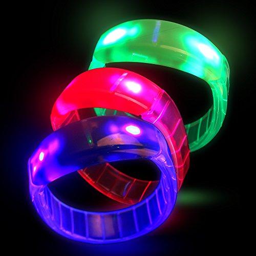 Fun Central I103 LED Bangle Bracelets - Assorted Colors 12 ct Light Up ()