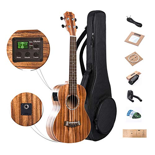 Caramel 26 inch CT204 All Solid Acacia Wood Tenor Electric Ukulele Professional Ukelele Kit Beginner Guitar Starter Bundle Aquila Strings, Padded Gig Bag, Strap and Wall mount Set