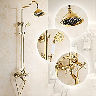 FHLYCF Shower bath set, all copper shower, European antique faucet, golden shower with lifting and retro shower faucet