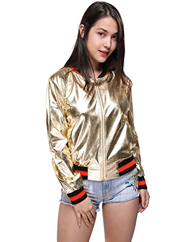Gold Womens Jacket (Fancyqube Women's Casual Stand Collar Zip Up Leather PU Short Bomber Jacket Coat Gold M)