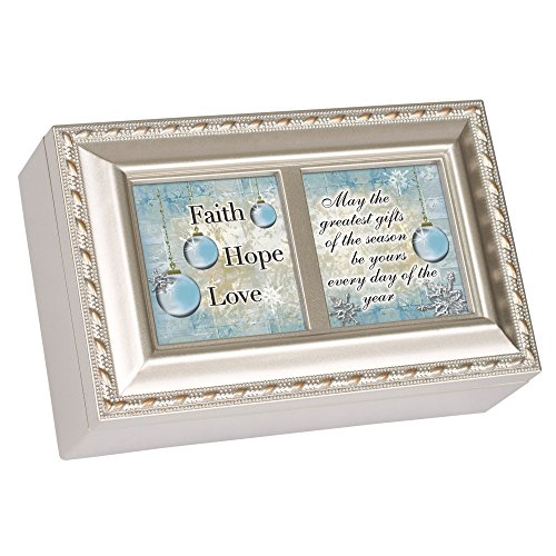 Cottage Garden Faith Hope Love Christmas Champagne Silver Petite Music Box Plays Joy to the World by Cottage Garden