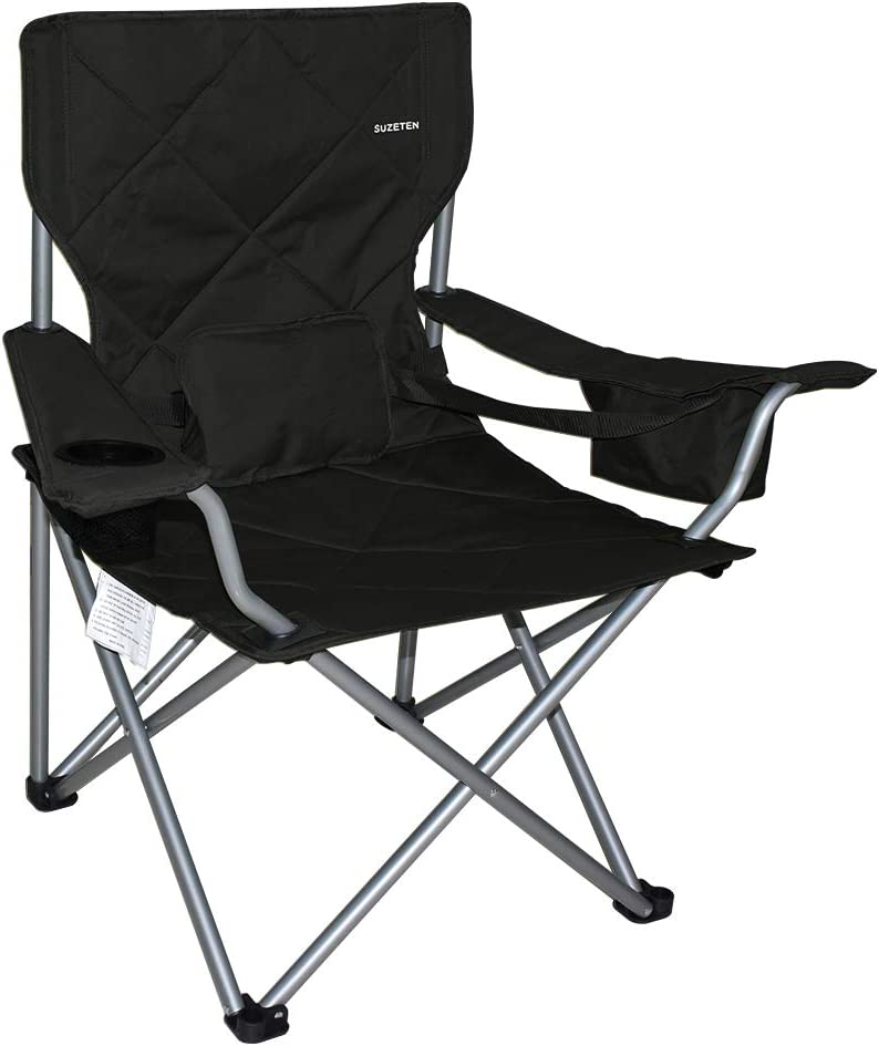 Suzeten Oversized Folding Camping Chairs Quad Arm Chair with Heavy Duty Lumbar Back Support, Cooler Cup Holder, Back Mesh Pocket, Shoulder Strap Carrying Bag Support 350 lbs, Black