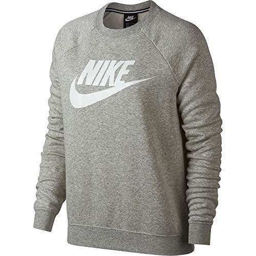 Nike Womens Rally HBR Crew Neck Sweatshirt Grey Heather/White 930905-050-Size Large ()