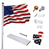 Supole Extra Thick 20FT Sectional Flag Pole Kit, Heavy Duty American Aluminum Flagpole Set with 100% Polyester 3x5 US Flag, Golden Ball Top, Stainless Steel Clips for Commercial or Residential, Silver