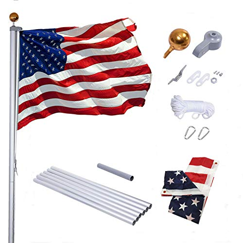 Supole Extra Thick 25FT Sectional Flag Pole Kit