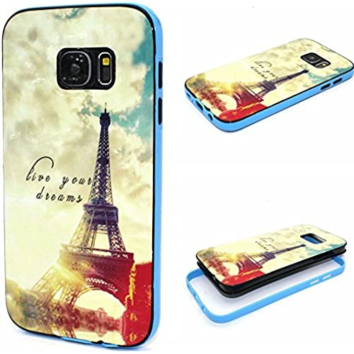 Galaxy S7 Edge Case, Wandeneng Hybrid Fancy Colorful Pattern Hard Soft Silicone Bumper Case Fit for Galaxy S7 Edge(2016) (Town) Sales