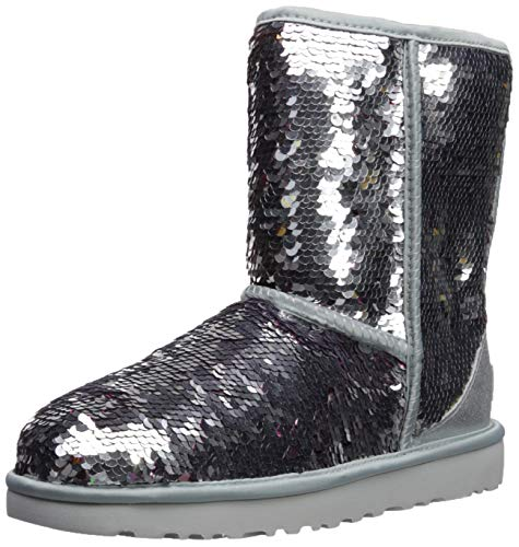 (UGG Women's W Classic Short Sequin Fashion Boot, Silver, 10 M US)