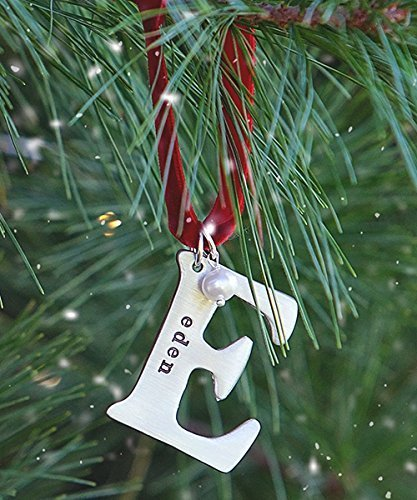 my alphabet letter custom handstamped name christmas ornament a z