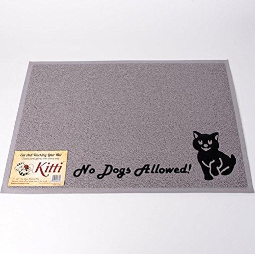 Kitti Cat Litter Anti Tracking Mats, No Dogs Allowed, Gray