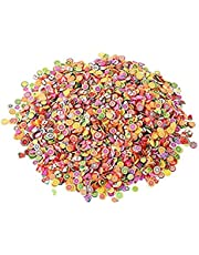 DNHCLL 1000 Pieces Mixed Color Clay 3D Fruits Slices Nail Art Decorations for Craft Making, Ornament Scrapbooking DIY Crafts