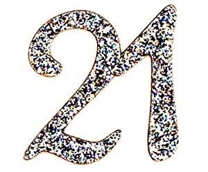 21st Birthday Self Adhesive Numbers Silver Glitter Fabric