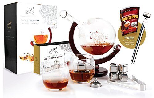 WHISKEY DECANTER GLOBE SET WORLD ETCHED LIQUOR SPIRITS SCOTCH BOURBON VODKA RUM WINE TEQUILA GLOBE DECANTER - STIRRER, STAINLESS STEEL ICE CUBES, WHISKEY GLASSES, TONGS, FUNNEL, BEER CHILLER - 1000ML (Decanter Stainless Steel)