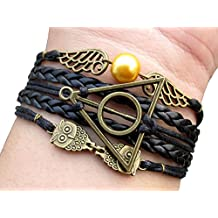 Unique Harry Potter Inspired Bracelet Golden Snitch Deathly Hallows Owls Bracelet Black Leather Braid and Rope Bangle