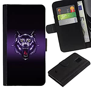 LASTONE PHONE CASE / Lujo Billetera de Cuero Caso del tirón Titular de la tarjeta Flip Carcasa Funda para Samsung Galaxy S5 Mini, SM-G800, NOT S5 REGULAR! / Wolf Roar Art Drawing Portrait Purple Glow