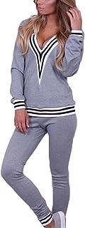 Hibote Tracksuit Women Soft Jogging Suit Comfortable Long Sleeve Pullover + Pants Modern Fitness Yoga Suits 2 Piece Clothes Set Sport Sweatshirt Trousers