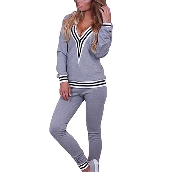 2tlg Damen Trainingsanzug Streifen Jogginghose Kapuzen Winter Hoodie Sweatshirt