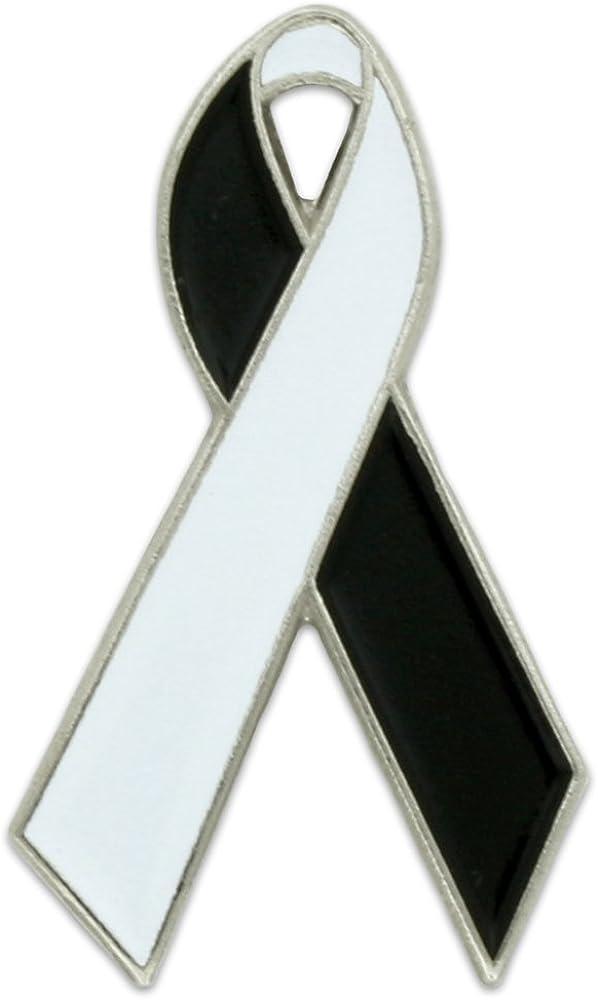 PinMart White and Black Awareness Ribbon Enamel Lapel Pin