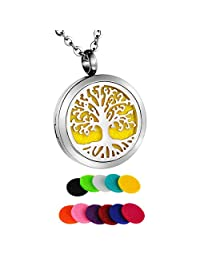 HooAMI Aromatherapy Essential Oil Diffuser Necklace - Tree of Life Feather Stainless Steel Locket Pendant