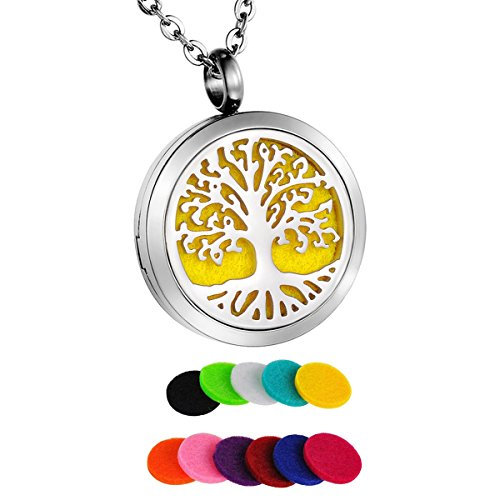 Steel Pendant Surgical Round - HooAMI Aromatherapy Essential Oil Diffuser Necklace - Tree of Life Round Pendant Locket