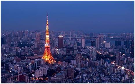 Amazon Co Jp レモンツリーart ポスター 町並み 夜景 東京タワー きれい 壁掛け 壁飾り キャンバス絵画 インテリア絵画 風景写真 街並み モダン 現代 部屋装飾 新築飾り 90x60 ホーム キッチン
