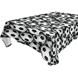 Double Joy Modern Rectangle Square Tablecloth 54x72 Inches Soccer Balls Wall Cover for Dinners Parties Banquet or Picnic