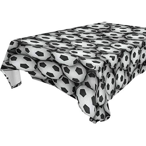 Double Joy Modern Rectangle Square Tablecloth 54x72 Inches Soccer Balls Wall Cover for Dinners Parties Banquet or Picnic by Double Joy