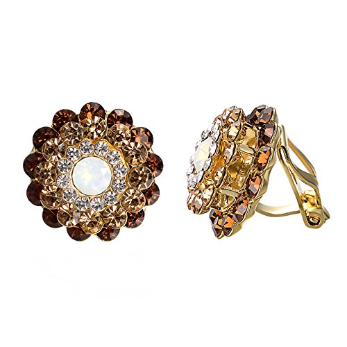 Yoursfs Clip on Earrings For Women Brown Crystal Cubic zirconia Floral Clip Earrings (Brown Clip Earrings)...