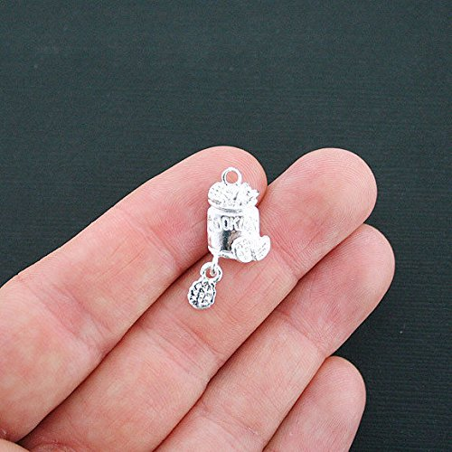 Pendant Jewelry Making for Bracelets and Chains 5 Cookie Jar Charms Silver Plated with Cookie Dangle Charm - SC4413