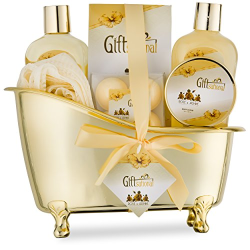 Spa Gift Basket with Sensual Rose & Jasmine Fragrance – Best Graduation, Wedding, Anniversary, Birthday Gift for Women and Girls – Spa Gift Set Includes Shower Gel, Bubble Bath, Bath Bombs and More! Review