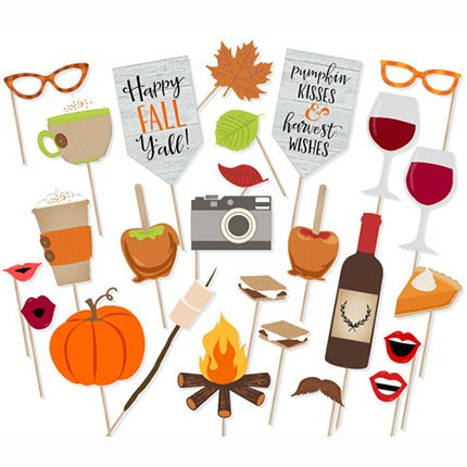 Happy Fall Yall Photo Booth Props Kit Thanksgiving Day Harvest Festival Pumpkin Party Supplies-26 count -