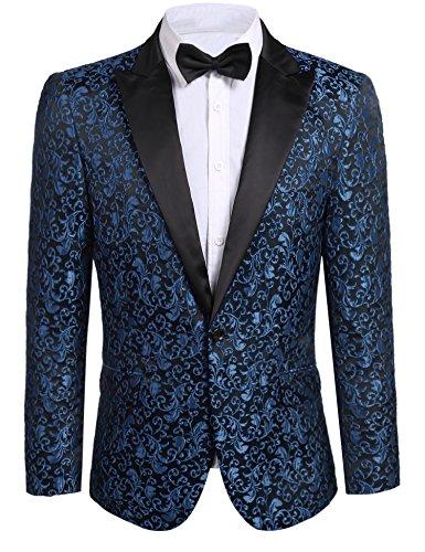 Donet Men's Floral Party Dress Suit Notched Lapel Stylish Dinner Jacket Wedding Blazer Prom Tuxedo Navy Blue Medium - Embroidery Party Prom Jacket