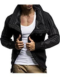 "<span class=""a-offscreen"">[Sponsored]</span>LN5065 Men's Cardigan With Faux Leather Accents"