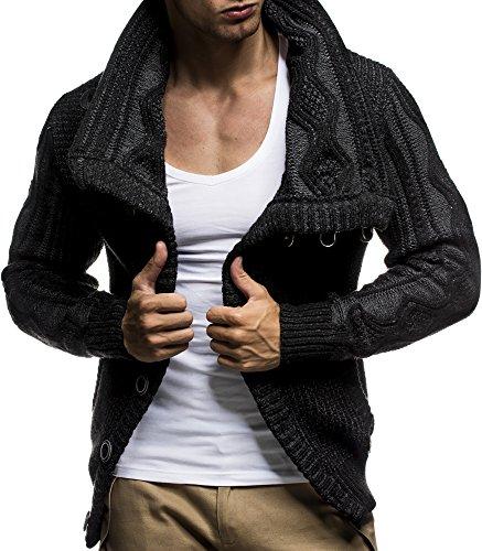 Faux Leather Accent (LEIF NELSON LN5065 Men's Cardigan With Faux Leather Accents,Anthracite Black,US-M / EU-L)
