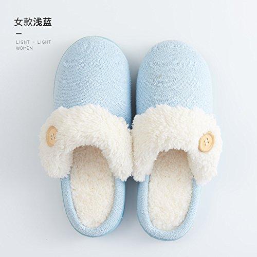 Cotone fankou pantofole inverno gli uomini e le donne al fine di non-slip home home carino pacchetto caldo con le coppie furflies pantofole inverno 38/39 (per 37-38 piedi), girare la sezione di capell