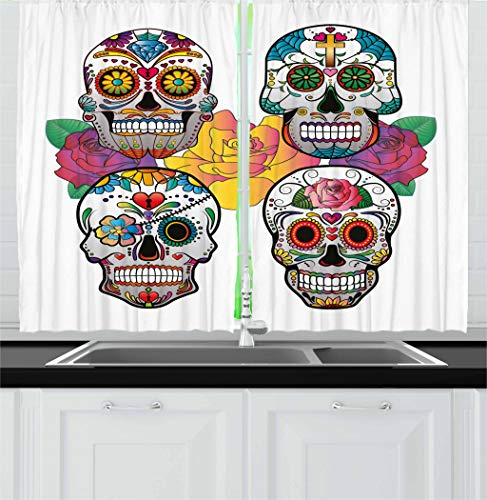 Ambesonne Sugar Skull Decor Kitchen Curtains, Different Types of Skulls Rich Colorful Ornaments Roses Border Carnival, Window Drapes 2 Panel Set for Kitchen Cafe, 55 W X 39 L Inches, Multicolor