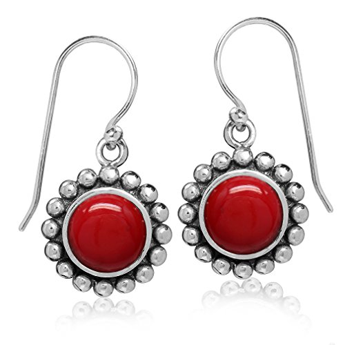 8MM Created Red Coral 925 Sterling Silver Bali/Balinese Style Dangle Hook Earrings Bezel Coral Earrings