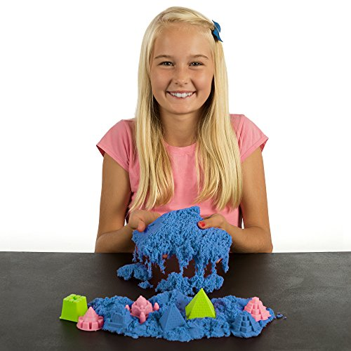 NATIONAL GEOGRAPHIC Play Sand - 12 LBS of Sand with Castle Molds (Blue) - A Kinetic Sensory ()