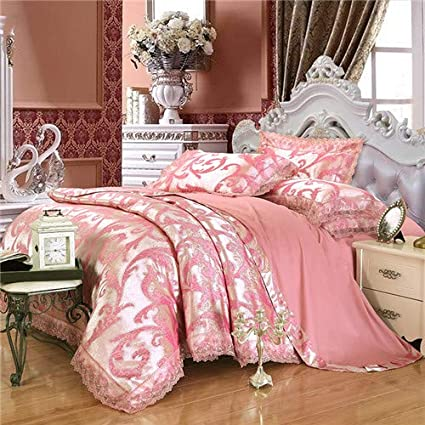 Bedding set 10 PCS cotton lace satin jacquard weave duvet cover sheet pillowcase