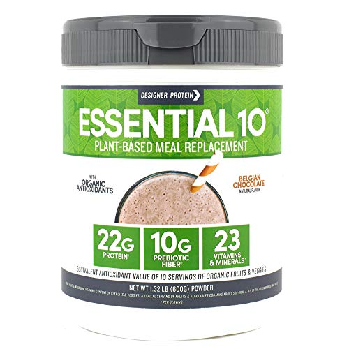 - Designer Protein Essential 10, Belgian Chocolate, 1.32 Pound, Plant Based Meal Replacement Protein Powder