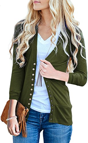 Long Knit Cardigan Sweater - NENONA Women's V-Neck Button Down Knitwear Long Sleeve Soft Basic Knit Cardigan Sweater(Army Green-3/4 Sleeve-M)