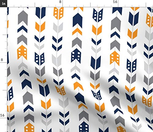 (Orange And Navy Chevron Fabric - Abstract Nursery Stripes Baby Boy Dots Woodland Girl Herringbone Broken Green Print on Fabric by the Yard - Petal Signature Cotton for Sewing Quilting Apparel Crafts)