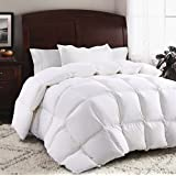 ROSECOSE Luxurious Goose Down Comforter Duvet Insert All Seasons Lightweight Solid White Hypo-allergenic 1200 Thread Count 750+ Fill Power 100% Cotton Shell Down Proof with Tabs (White, King)