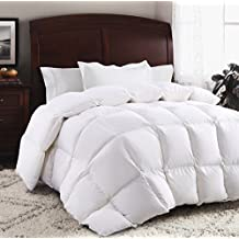ROSECOSE Luxurious Goose Down Comforter Duvet Insert All Seasons Lightweight Solid White Hypo-allergenic 1200 Thread Count 750+ Fill Power 100% Cotton Shell Down Proof with Tabs (White, Queen)