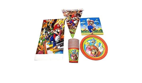 Super Mario Theme Vajilla Set Fiesta de cumpleaños Decorar ...