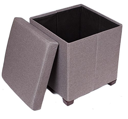 BirdRock Home Folding Storage Ottoman with Legs | Upholstered | 16 x 16 | Linen | Strong and Sturdy | Quick and Easy Assembly | Foot Stool | Grey