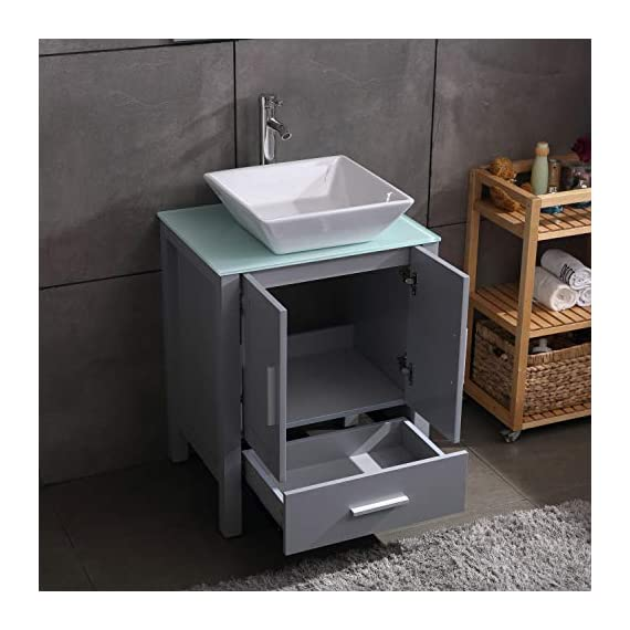 """24"""" Grey Bathroom Vanity Cabinet and Sink Combo Glass Top MDF Wood w/Sink Faucet &Drain Set - Environmental-friendly MDF wood material cabinet with oil paint on it, durable, stable and water-proof. Main cabinet size: 19*24*30 inch (L×W× H) . Sink size: 16.5 in*5.5(L×W× H), Sink thickness:0.5 inch. Faucet height:12 inch 1.5 GPM faucet help you save much water, prevent water splashing. - bathroom-vanities, bathroom-fixtures-hardware, bathroom - 51w8%2B s1IbL. SS570  -"""