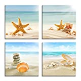 YPY Painting Beach Stone Sea Shells Sand Sunshine 4 PCS Wall Art Stretched Canvas Art Set Framed Ready to Hang (Blue, 12x12in)